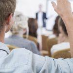 audience member hand raised